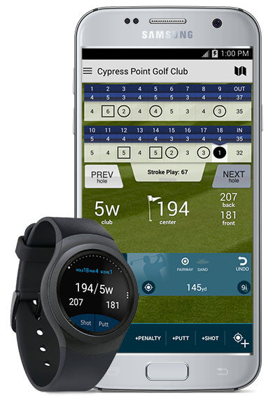 Golf Pad GPS + optional smartwatch (not included)