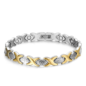 La Mia Cara Jewelry - Health Care Jewelry Women - Silver & Gold - Rainso Black Magnetic Bracelet