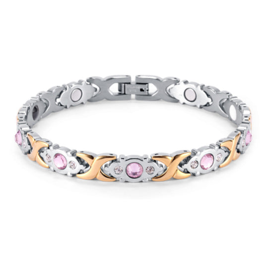 La Mia Cara Jewelry - Health Care Jewelry Women - Rainso Pink Silver Magnetic Bracelet