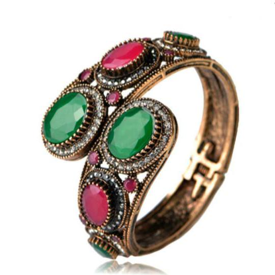 La Mia Cara Jewelry - Notte di Persia - Emerald & Ruby - Antique Vintage Gold Bangle