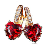 La Mia Cara Jewelry - Cuore Rosso - CZ Diamond Rose Gold Heart Shape Hoop Earrings