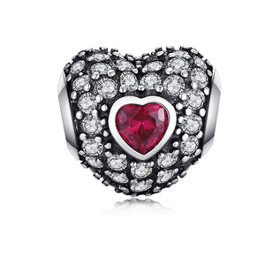 La Mia Cara Jewelry - Amore Cuore Charm - Love Crystal Sterling Silver Heart Charm