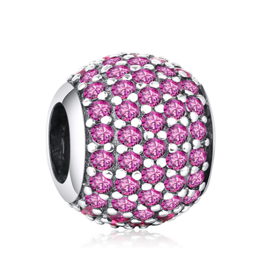 Palla Charm Pink - CZ Diamonds Sterling Silver Bead Ball