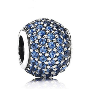 La Mia Cara Jewelry - Palla Charm Blue - CZ Diamonds Sterling Silver Bead Ball
