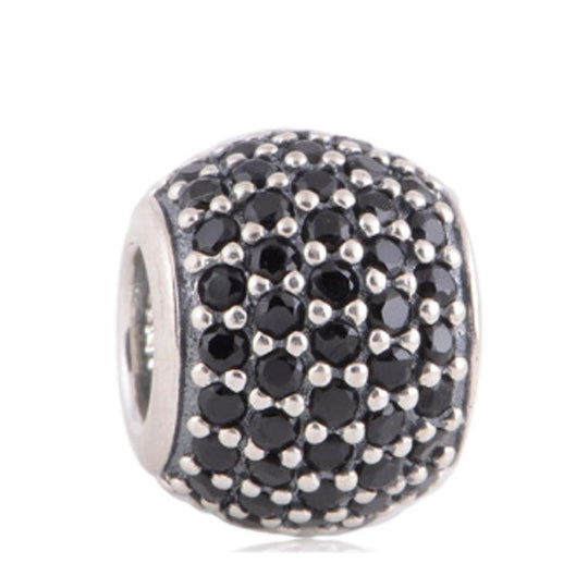 La Mia Cara Jewelry - Palla Charm Black - CZ Diamonds Sterling Silver Bead Ball
