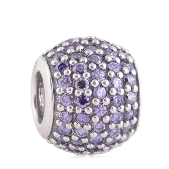 La Mia Cara Jewelry - Palla Charm Purple - CZ Diamonds Sterling Silver Bead Ball