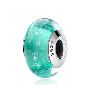 La Mia Cara Jewelry - Facette Turquoise Charm - Sterling Silver Murano Charm Bead