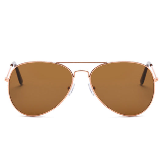 La Mia Cara - PARIS - BROWN CLASSIC AVIATOR MIRRORED LENS METAL SUNGLASSES UNISE