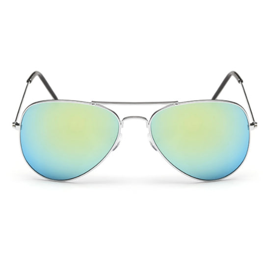 La Mia Cara - PARIS - TURQUOISE CLASSIC AVIATOR MIRRORED LENS METAL SUNGLASSES UNISEX