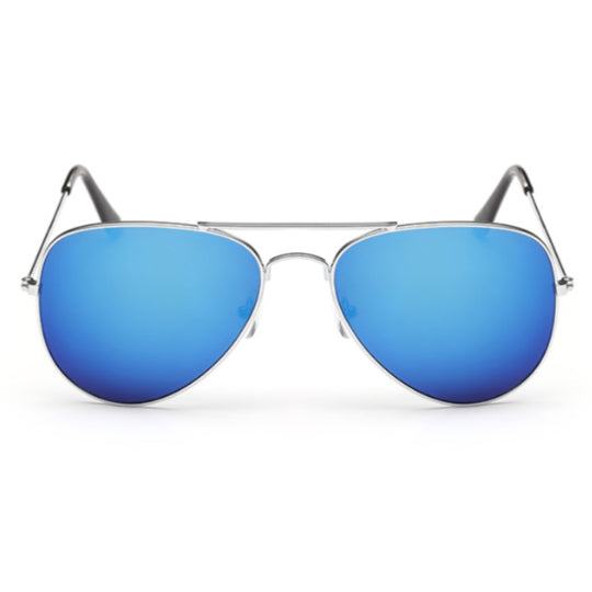 PARIS -  BLUE CLASSIC AVIATOR MIRRORED LENS METAL SUNGLASSES UNISEX