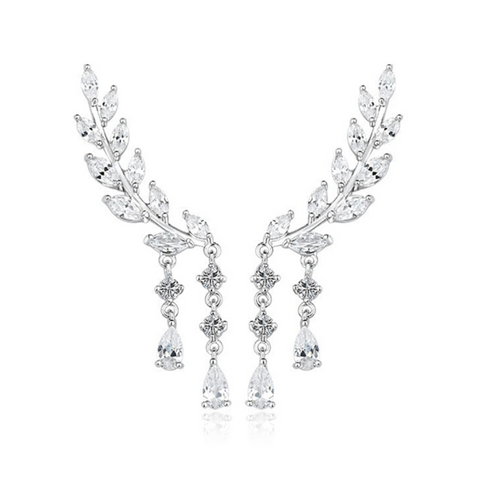 Ali d'Angelo - CZ Diamonds White Gold Chandelier Earrings - LA MIA CARA JEWELRY - 1