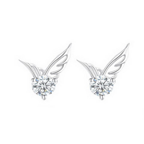Angelo dell'Amore - Crystal Angel Wings Silver Stud Earrings - LA MIA CARA JEWELRY - 1