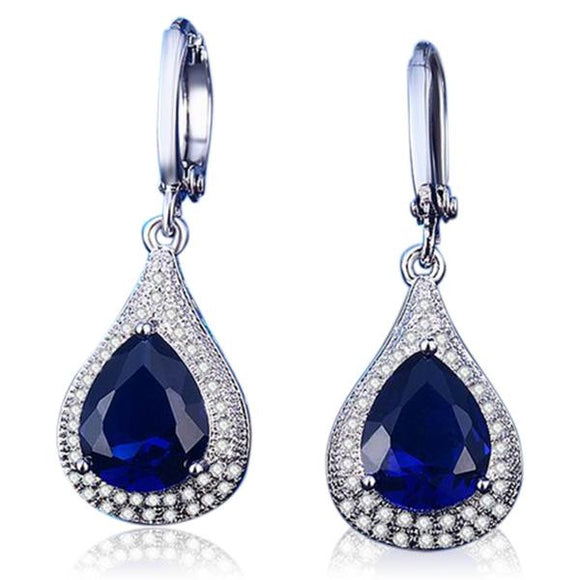 Antonia - CZ Diamond Sapphire Dark Blue White Gold Drop Earrings - LA MIA CARA JEWELRY