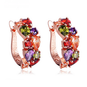 Arlecchino Piccolo - Colorful CZ Diamond Rose Gold Stud Earrings - LA MIA CARA JEWELRY - 1