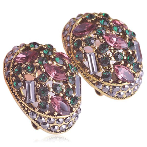 Arzu - Crystal Sapphire Emerald Rose Gold Drop Earrings - LA MIA CARA JEWELRY - 1