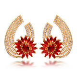 Aurelia Gold - Clear or Siam or Champagne CZ Diamonds Gold Drop Earrings - LA MIA CARA JEWELRY - 1
