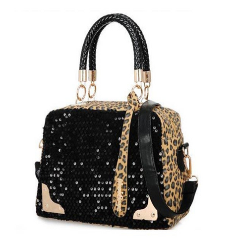 Erina - Paillette Leopard Pattern Shoulder Bag - LA MIA CARA JEWELRY - 1