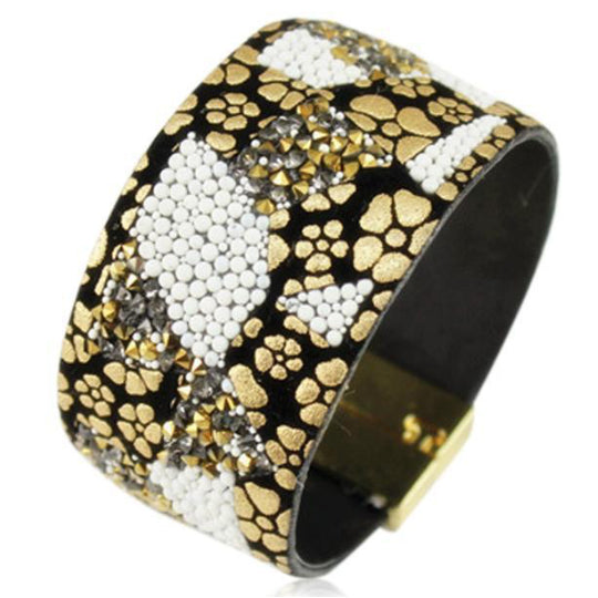 La Mia Cara Jewelry - Mosaïque Yellow - Rhinestone Crystal Leather Magnetic Clasp Bracelet