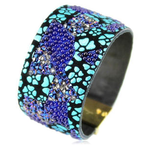 La Mia Cara Jewelry - Mosaïque Blue - Rhinestone Crystal Leather Magnetic Clasp Bracelet