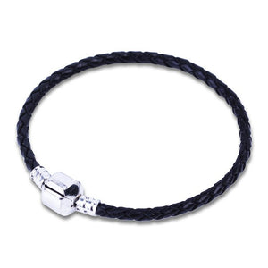 Orso-  Black Leather with Silver Clip Pandora Style Bracelet