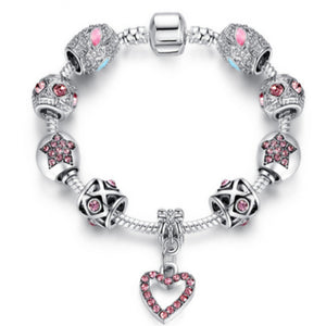 La Mia Cara Jewelry - Heart CZ Diamonds Silver Crystal Charms Bracelet