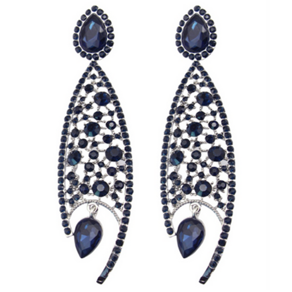 Agata - Rhinestone Crystal Flower Silver Drop Earrings - LA MIA CARA JEWELRY - 2