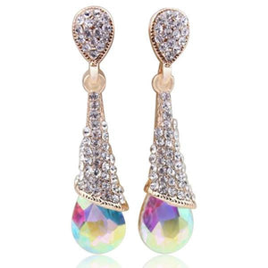 Earrings -Alina - Swarovski Crystal Long Drop Earrings in 5 Colors - LA MIA CARA JEWELRY - 1