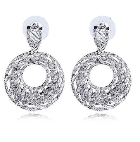 Amila - CZ Diamond Gold / Platinum Donuts Shape Drop Earrings - LA MIA CARA JEWELRY - 2