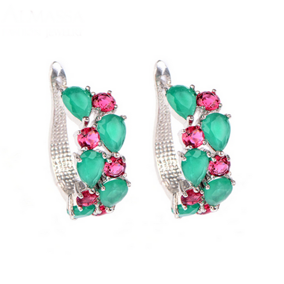 Arlecchino Piccolo - Colorful CZ Diamond Rose Gold Stud Earrings - LA MIA CARA JEWELRY - 2