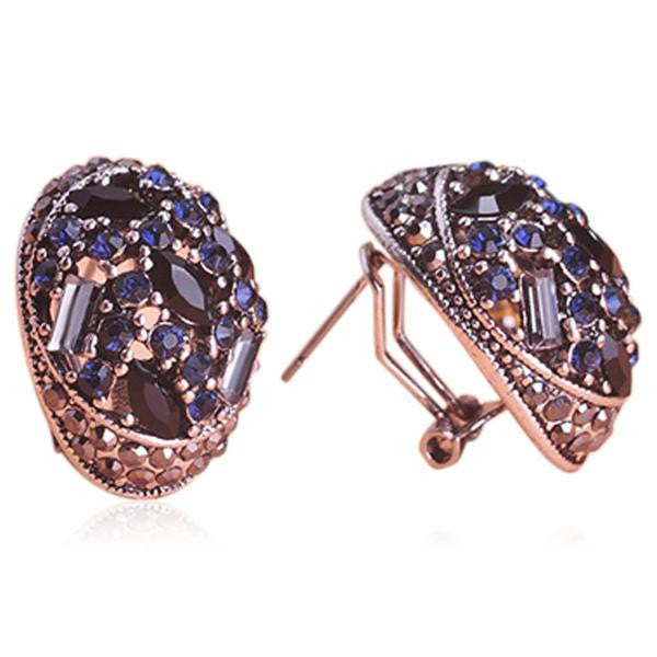 Arzu - Crystal Sapphire Emerald Rose Gold Drop Earrings - LA MIA CARA JEWELRY - 2