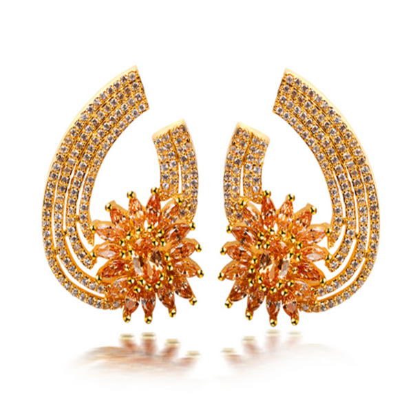 Aurelia Gold - Clear or Siam or Champagne CZ Diamonds Gold Drop Earrings - LA MIA CARA JEWELRY - 2
