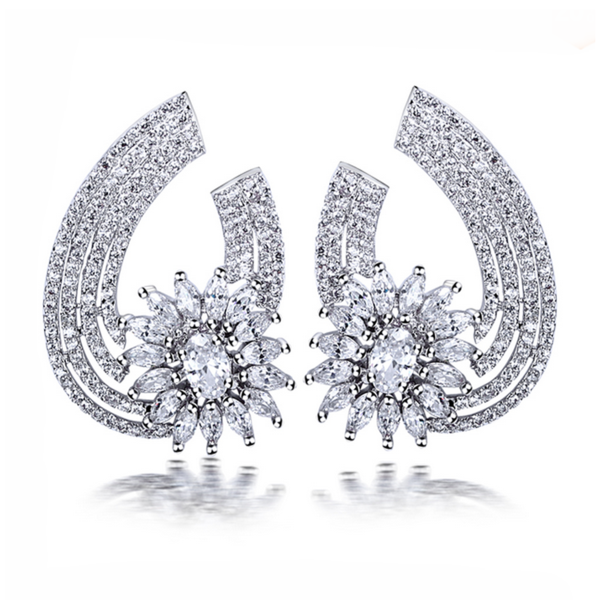 Aurelia Silver- Clear or Montana CZ Diamonds Platinum Drop Earrings - LA MIA CARA JEWELRY - 2