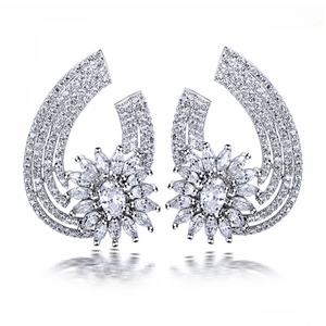 Aurelia Silver- Clear or Montana CZ Diamonds Platinum Drop Earrings - LA MIA CARA JEWELRY - 1