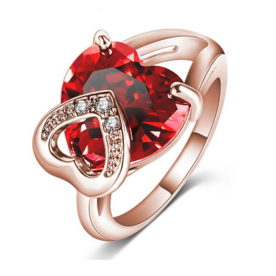 La Mia Cara Jewelry & Accessories -  Red Cuore Rubino - Ruby Swarovski Crystal & Clear CZ Diamond Cocktail Ring