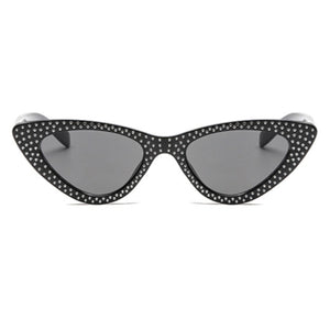 La Mia Cara - Bari - Black with Rhinestone Small Sexy Cat Eye Sunglasses with UV400
