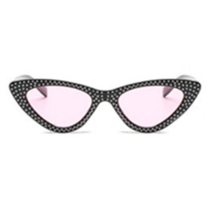 La Mia Cara - Black/Pink with Rhinestone Small Sexy Cat Eye Sunglasses with UV400