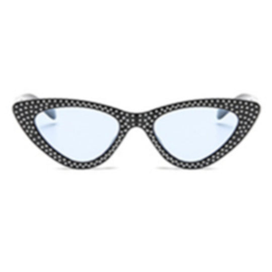 La Mia Cara - Bari - Blue with Rhinestone Small Sexy Cat Eye Sunglasses with UV400