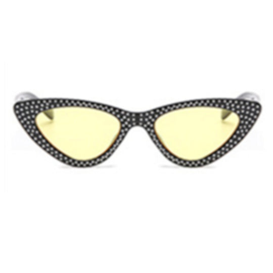 La Mia Cara - Bari - Yellow with Rhinestone Small Sexy Cat Eye Sunglasses with UV400