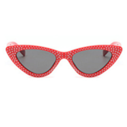 La Mia Cara - Bari - Red with Rhinestone Small Sexy Cat Eye Sunglasses