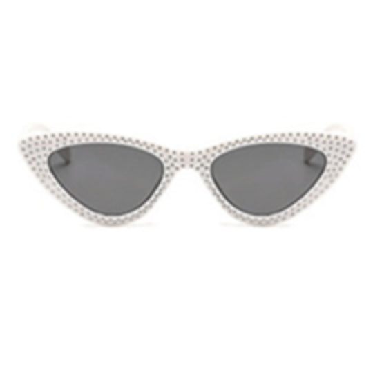 La Mia Cara - Bari - White with Rhinestone Small Sexy Cat Eye Sunglasses with UV400