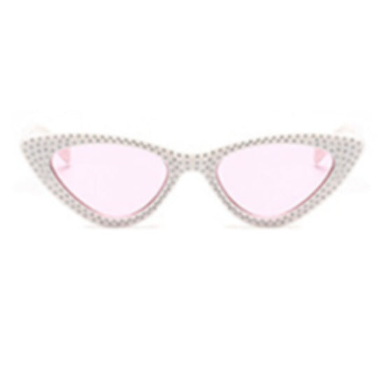 La Mia Cara - Bari - White/Pink with Rhinestone Small Sexy Cat Eye Sunglasses with UV400