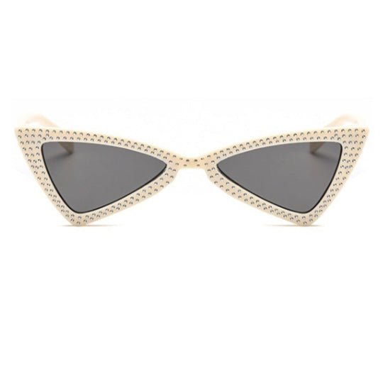 La Mia Cara - COMO - BEIGE BOWKNOT RETRO TRIANGLE CAT EYE FASHION DIAMOND SUNGLASSES UV400