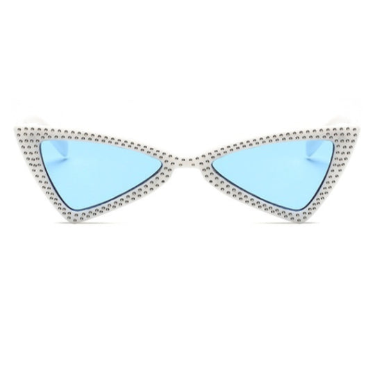 La Mia Cara - COMO - BLUE BOWKNOT RETRO TRIANGLE CAT EYE FASHION DIAMOND SUNGLASSES UV400