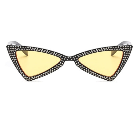 La Mia Cara - COMO - YELLOW BOWKNOT RETRO TRIANGLE CAT EYE FASHION DIAMOND SUNGLASSES UV400