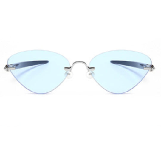La Mia Cara - Cosenza - Blue Rimless Cat Eye Glasses or Sunglasses with Pen designed Hinges & Silicon Nose Pads - High Comfort
