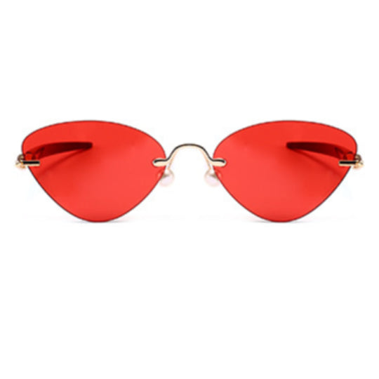 La Mia Cara - Cosenza - Red Rimless Cat Eye Glasses or Sunglasses with Pen designed Hinges & Silicon Nose Pads - High Comfort