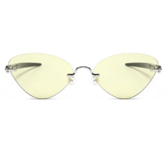 La Mia Cara - Cosenza - Yellow Rimless Cat Eye Glasses or Sunglasses with Pen designed Hinges & Silicon Nose Pads - High Comfort