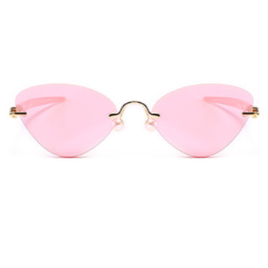 La Mia Cara - Cosenza- Pink Rimless Cat Eye Glasses or Sunglasses with Pen designed Hinges & Silicon Nose Pads - High Comfort