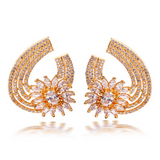 Aurelia Gold - Clear or Siam or Champagne CZ Diamonds Gold Drop Earrings - LA MIA CARA JEWELRY - 3