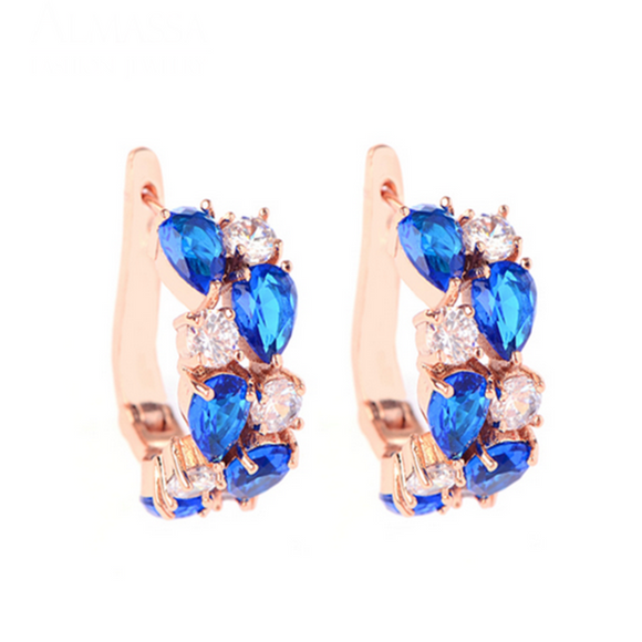 Arlecchino Piccolo - Colorful CZ Diamond Rose Gold Stud Earrings - LA MIA CARA JEWELRY - 6